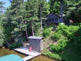 Imagine having a rustic cabin on 1350-acre Squirrel Lake in Minocqua with 100' sand frontage with Southern Exposure under $270,000! This cabin has been tastefully restored and features an enormous south view as well as a tram to move supplies up and down from the water edge. The property offers 2 bedrooms, 2 full baths and a wood burning stove with an open concept floor plan. Additionally, there are real hardwood floors and birch rafters/railings that create beautiful Northwoods decor. One of the best features of the cabin is the enclosed front porch that the current owners use as a dining room overlooking the entire South end of the lake! Entertaining will be a pleasure at this island retreat in Minocqua. Ask for a tour today!
